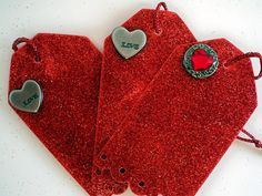 Glitter Gift Tags Red Hang Tags Gift Wrapping by AuriesDesigns, $6.95