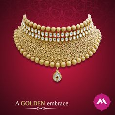 The perfect gold neckpiece to catch anyone's attention. Use it as a stand-alone jewellery piece with a bandhgala blouse for an emphatic statement.