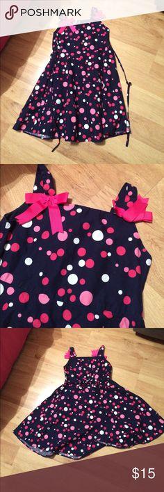 Bonnie Jean Polka Dot Dress Sleeveless Size 6 Blue, Pink & White Polka Dot & Bows Bonnie Jean Dress Sleeveless Size 6 -- MINT CONDITION! Bonnie Jean Dresses Casual