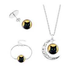 Halloween Moon Cat Necklace Bracelet And Earrings Silver (275 INR) ❤ liked on Polyvore featuring jewelry, silver jewellery, silver jewelry, silver cat jewelry and cat jewelry