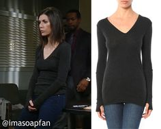 Anna Devane's Charcoal Grey V-Neck Sweater with Thumbhole Sleeves - General Hospital, Finola Hughes, #GH #GeneralHospital Wardrobe Fashion Style