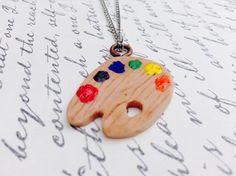 Paint Pallet Necklace Art by UniqueBoutique50 on Etsy