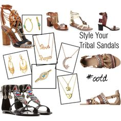 Style Your Tribal Sandals by blingjewelry on Polyvore featuring Giuseppe Zanotti, Isabel Marant, Sam Edelman, Ash and Bling Jewelry