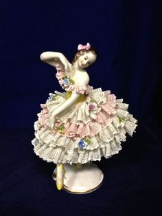 Dresden Lace Figurines | Dresden Style, Dipped Lace Porcelain Figurine, Germany