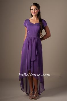 Modest Sweetheart Neckline Purple Chiffon High Low Bridesmaid Dress With Sleeves