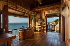 Six Senses, Ninh Van Bay, Open-air bathroom of Rock Pool villa with sea view. http://www.theprivatetravelcompany.co.uk/destinations/vietnam/