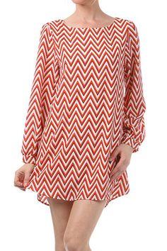 Red Chevron Dress/Tunic. $50
