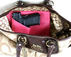 Large Auto Pink Concealed carry purse holster, Left Side,  CCW pistol XD Sig Glock