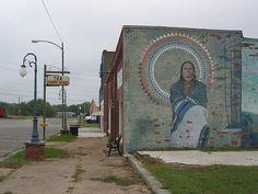 Cha' Tullis mural in Hominy Oklahoma by obliquicity, via Flickr
