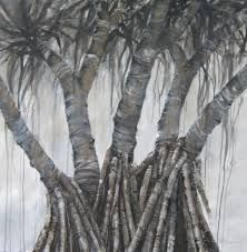 pandanus tree Papua New Guinea, Printmaking, Trees, Painting, Tree Structure, Painting Art, Printing, Paintings, Graphics