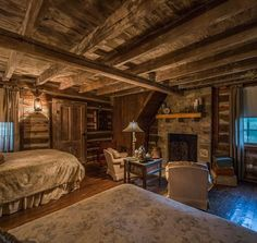 Beautiful log cabin bedroom with a fireplace to boot #cabinporn #fireplace #logcabin