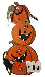 Add a spooky touch to your Halloween decor with our wooden jack o'lantern light-up easel standing greeter sign.