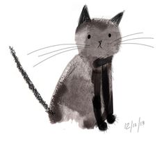 laurahughes-illustrator: I've decided to draw every cat I meet from memory. This is the first kitty. A handsome black cat with big fat paws! Digital sketch, 10 mins