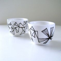 Ceramic Cups Sake Japanese Tea Geometric Black and por sewZinski