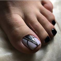 ideas for black pedicure toenails flower nails Pedicure Nail Art, Toe Nail Art, Nail Manicure, Nail Polish, Black Pedicure, Pretty Toe Nails, Cute Toe Nails, Eva Nails, Cute Pedicures