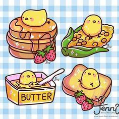 Love butter? Here's a butter chick I drew lol  . . . #butter #pancakes #corn #frenchtoast #kawaii #jenniilustrations #jennillustrations