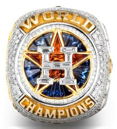 """10 amazing details on the Houston Astros' World Series rings - April 4, 2018.  1. 11 custom-cut diamonds on the front """"H"""" - one diamond for every 2017 postseason win.  2. 101 diamonds on the front - one for every 2017 regular season win.  3. 56 diamonds encircle the """"H"""" - one for each season until they won the first franchise title"""