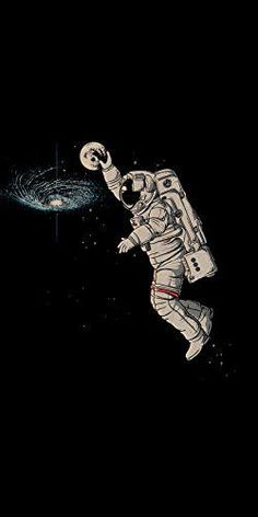 'Slam Dunk' Astronaut Dunk Moon in Galaxy Funny - Plywood Wood Print Poster Wall Art