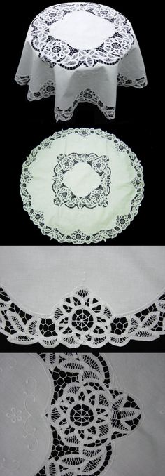 cotton hand embroidery Battenburg lace tablecloth Needle Lace, Bobbin Lace, Chicken Scratch, Point Lace, Ribbon Embroidery, Crochet, Linens, Tatting, Baskets