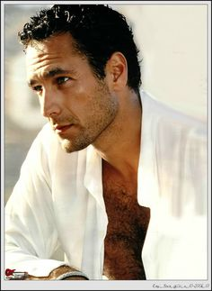 Love a hot Italian man in a silk shirt. Marc D'Alessio from the Rescue Me Saga was inspired by Raoul Bova. This scene reminded me of him in a dinner/bar scene with Angelina. Raoul Bova, Italian Men, Italian Beauty, Under The Tuscan Sun, Actrices Hollywood, Romance, Handsome Actors, Hairy Chest, Special People