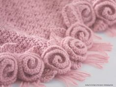 love the delicate roses edging. Just this pic. Knit, not crocheted, but I do like the look of the coiled roses