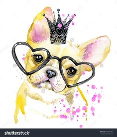 Cute Dog. Dog T-Shirt Graphics. Watercolor Dog Illustration Background. Watercolor Funny Dog For Fashion Print, Poster For Textiles, Fashion Design. French Bulldog - 382893388 : Shutterstock