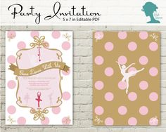 Pink and Gold Ballerina Party Invitation $10AUD by The Digi Dame Printable Party Decor. Visit thedigidame.com to purchase!