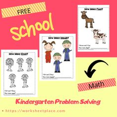 Kindergarten math problems and worksheets Free Worksheets, Math Problems, Kindergarten Teachers, Problem Solving, How To Introduce Yourself, Homeschool, Web Design, Classroom, Printables