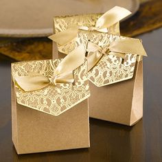 Naturally Vintage Gold Tent Favor Boxes (Set of 25) (Hortense B Hewitt 39510) | Buy at Wedding Favors Unlimited (http://www.weddingfavorsunlimited.com/naturally_vintage_gold_tent_favor_boxes_set_of_25.html).