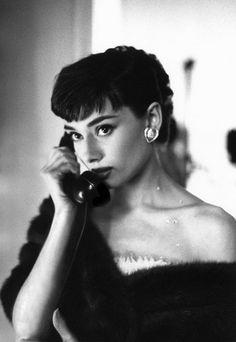 Audrey Hepburn on the phone at Paramount Studios, 1953.