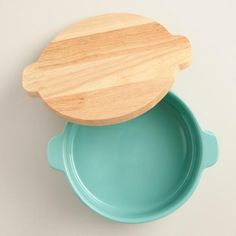 Small Aqua Ceramic Baker with Wood Trivet Lid | World Market