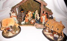 Large Vintage Christmas Nativity Set 13pcs, Wooden Stable Nativity Set Porcelain Figures Holy Land, Christmas Creche Manger Scene by Grandchildattic on Etsy