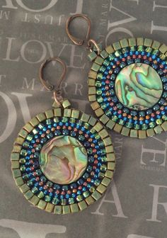 Beaded Earrings Small Abalone Shell Seed Bead Disc by WorkofHeart