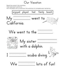Printables Fill In The Blank Worksheets fill in the blank worksheets reading ojays and our vacation the