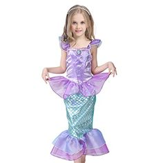 Love this mermaid costume for girls! It's adorable, isn't it?? It's the JiaDuo Kids Girls' Princess Mermaid Dress Party Costume