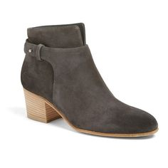 Women's Vince 'Harriet' Block Heel Bootie (2,635 CNY) ❤ liked on Polyvore featuring shoes, boots, ankle booties, pewter, block heel bootie, rounded toe boots, round toe boots, round cap and vince boots