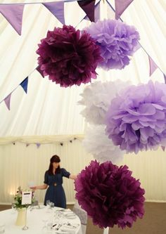 Purple Perfection..3 tissue paper pom poms--nursery decor/ wedding/ birthday,/ graduation party-- OR U PICK COLOR via Etsy