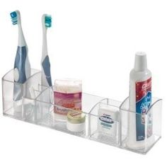 InterDesign 12-Inch Med+ Multi-Level Organizer, Clear by InterDesign. $8.75. 8 Compartments for easy organizing. Use in cabinet or countertop. 5.2-Inch by 3-Inch by 12. Made from Resipreme Plastic. Resipreme plastic with textured bottom. This acrylic medicine cabinet and vanity organizer provides a great way to keep medicines, toiletries, and cosmetics neatly organized and easily accessible in your medicine cabinet or on the countertop. Featuring several compartments of v...