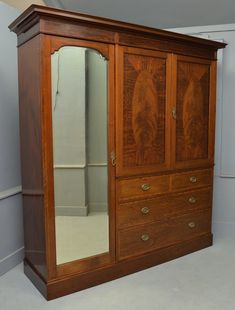 Antique Furniture Antiques Edwardian Breakfront Triple Combination Wardrobe With Key