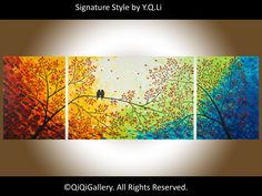 """72""""  Painting Contemporary Landscape Painting Heavy Texture Painting Impasto Gallery Wrap canvas Palette Knife Tree Painting Decor Birds"""