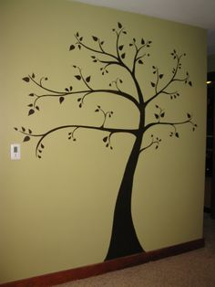 "My very own ""family tree"" painted on the wall….just have to hang up the pictures :) I'm so happy with how it turned out! Patting myself on the back lol"