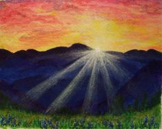 The morning sun peeks over a distant mountain range casting rays onto the new green growth of spring grasses and flowers. Acrylic painting on watercolor paper. Sunrise Mountain, Sunrise Painting, Unique Jewelry, Handmade Gifts, Artwork, Etsy, Vintage, Kid Craft Gifts, Work Of Art