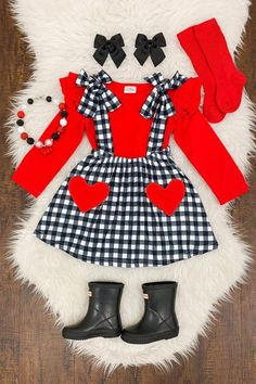Black & White Gingham Heart Suspender Skirt Set - Sparkle In Pink Baby Outfits, Baby Girl Party Dresses, Dresses Kids Girl, Little Girl Outfits, Kids Outfits Girls, Cute Outfits For Kids, Toddler Outfits, Baby Girl Fashion, Toddler Fashion