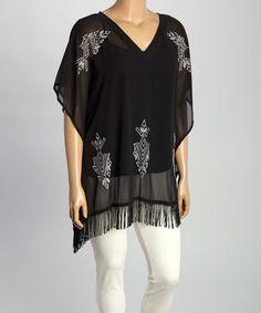 Black & White Embroidered Fringe Tunic - Plus #zulily #zulilyfinds
