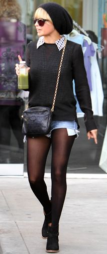 Denim shorts with black tights and black sweater