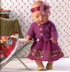 Strik & sy til dukken - Elesy Lena - Picasa Web Albums Baby Born Clothes, Stuffed Toys Patterns, Doll Toys, Doll Clothes, Flower Girl Dresses, Summer Dresses, Knitting, Wedding Dresses, Crochet