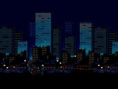 General 1600x1200 minimalism digital art pixels pixel art cityscape skyscraper building night lights 3D road blue background