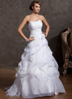 A-Line/Princess Sweetheart Court Train Organza Wedding Dress With Beading Appliques Lace Flower(s) (002014843) - JJsHouse