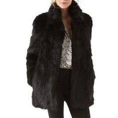 a476e539f381 Coats and Jackets 63862  Chic New Women Faux Fur Long Sleeve Winter Black Collar  Warm Outwear Jacket Coat -  BUY IT NOW ONLY   33.55 on eBay!