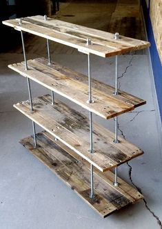 Vintage Reclaimed Wood Pallet 4 Shelf Bookcase or Bookshelf Industrial Style wit. - Vintage Reclaimed Wood Pallet 4 Shelf Bookcase or Bookshelf Industrial Style with Adjustable Legs B -